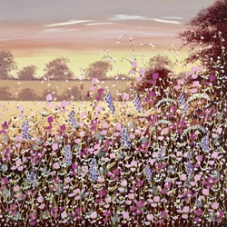 Purple Dusk by Mary Shaw - Original Painting on Board sized 30x30 inches. Available from Whitewall Galleries